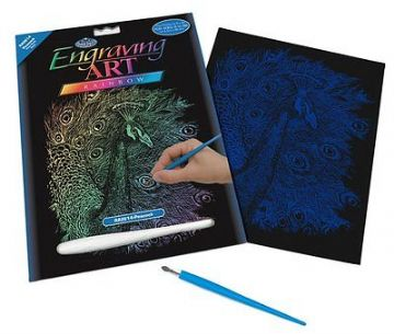 ENGRAVING ART SET - PEACOCK (RAINBOW FOIL) by ROYAL & LANGNICKEL